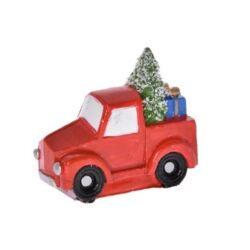 Teherautó  fenyővel, ajándékkal poly, piros