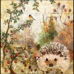 Koktél szalvéta - Őszi sünike