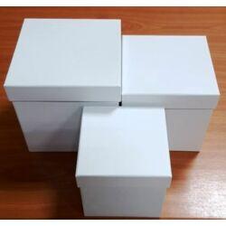 Papírmasé dobozszett 3 db-os fehér, kocka, műanyag belsővel