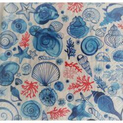Szalvéta - Kagylók, csigák, kék