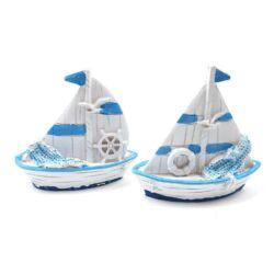 Vitorlás hajó fehér-kék, 1db