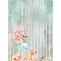 Rizspapír A4 - Szerelem virágcsokor és kutya