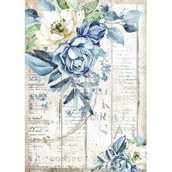 Rizspapír A4 - Romantika kék virág