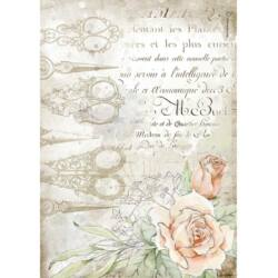 Rizspapír A4 - Romantika olló és rózsák