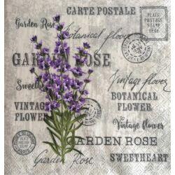 Szalvéta - Lila virág, feliratos