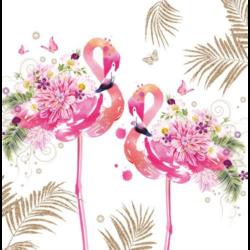 Szalvéta - Virágos flamingó