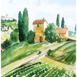 Szalvéta -  Toscana akvarell
