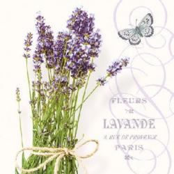 Koktél szalvéta - Levendula csokor, pillangós