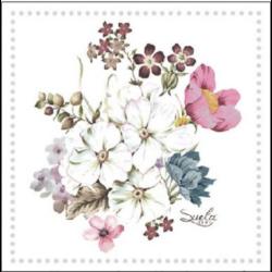 Koktél szalvéta - Virágcsokor keretben