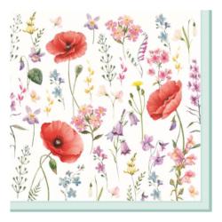 Szalvéta - Pipacs és virágszálak