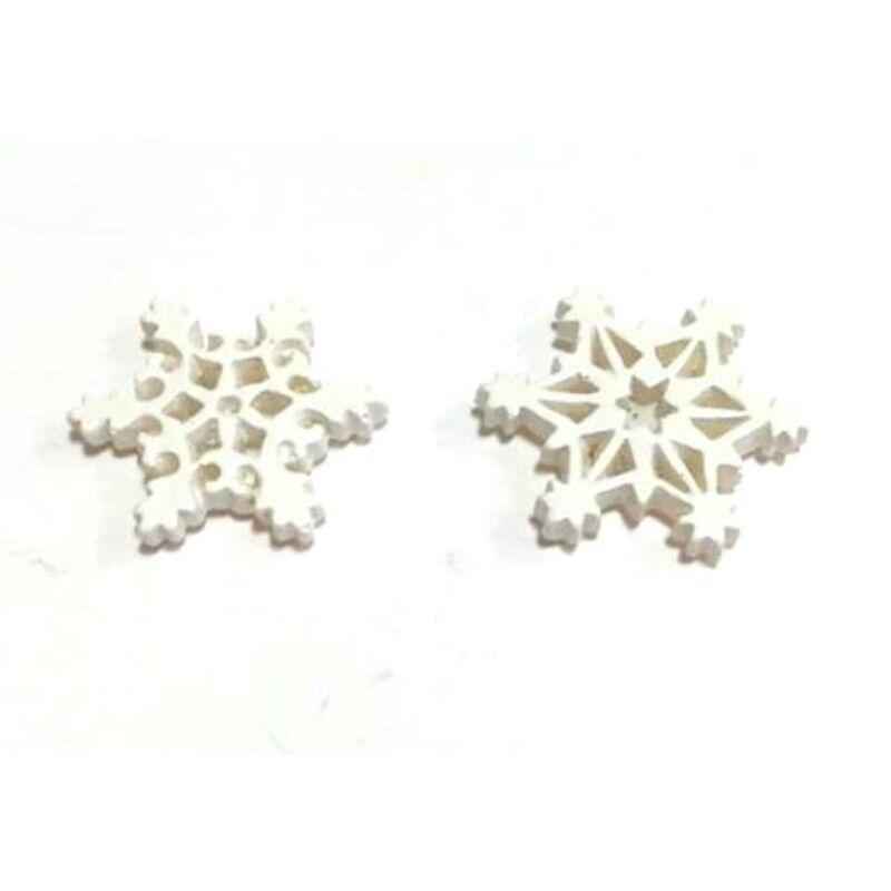 Hópehely fehér glitteres, 2db