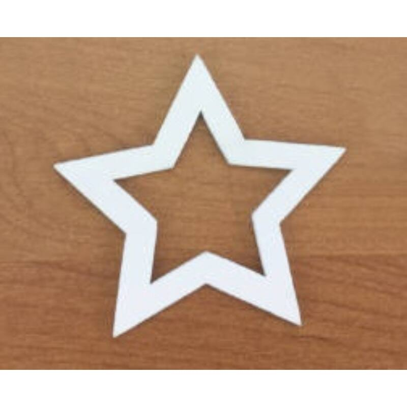 Fafigura - Lyukas csillag fehér 5cm