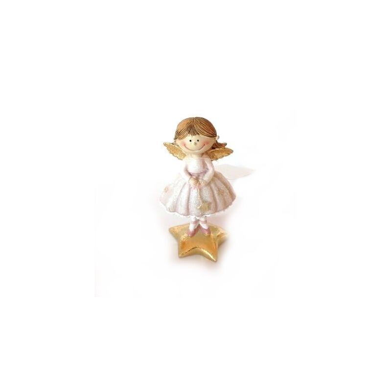 Bájos angyalka glitteres rózsaszín szoknyában, csillagon álló