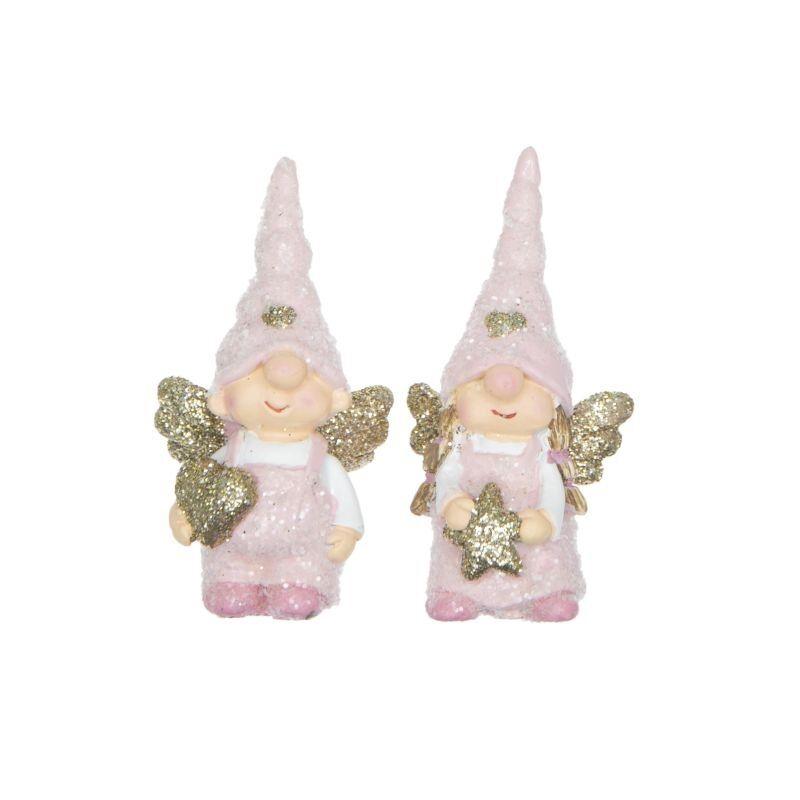 Angyali manócska sapiban, glitteres, rózsaszín 1db