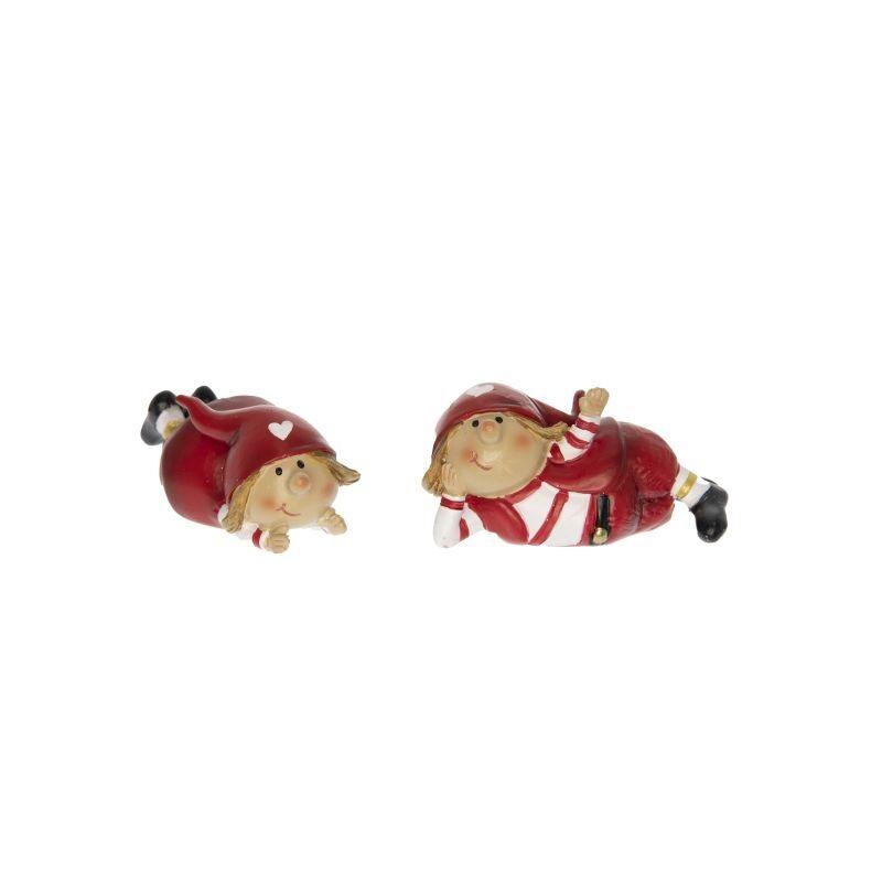Manócska fekvő, fehér-piros csíkos ruhában, 1db