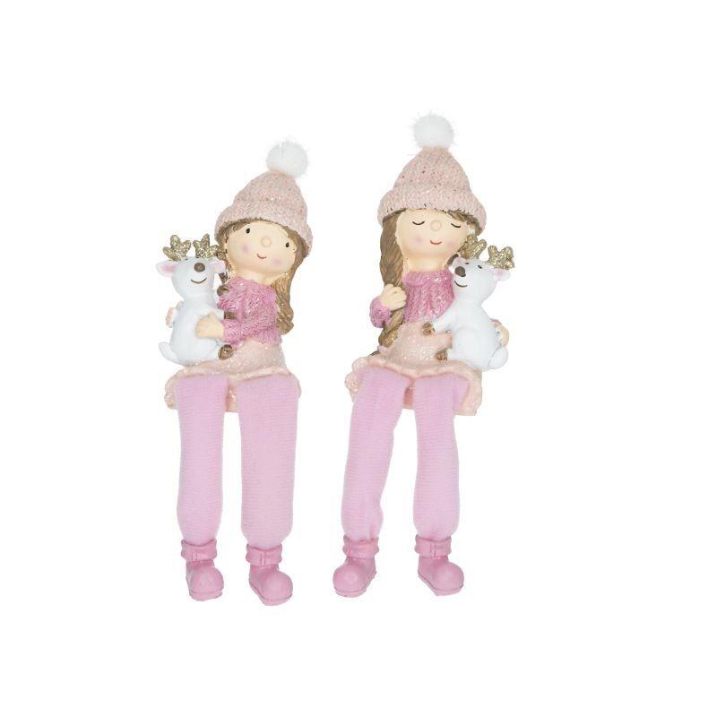 Kislány rózsaszín lógólábú szarvassal, glitteres 1db