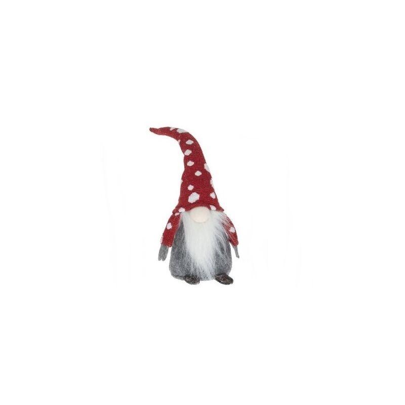 Manó ülő pöttyös sapkában, piros sapis 28 cm