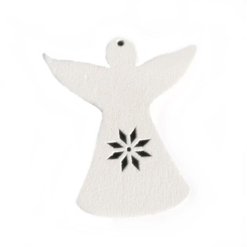 Fafigura - Fehér angyal, áttört hópelyhes