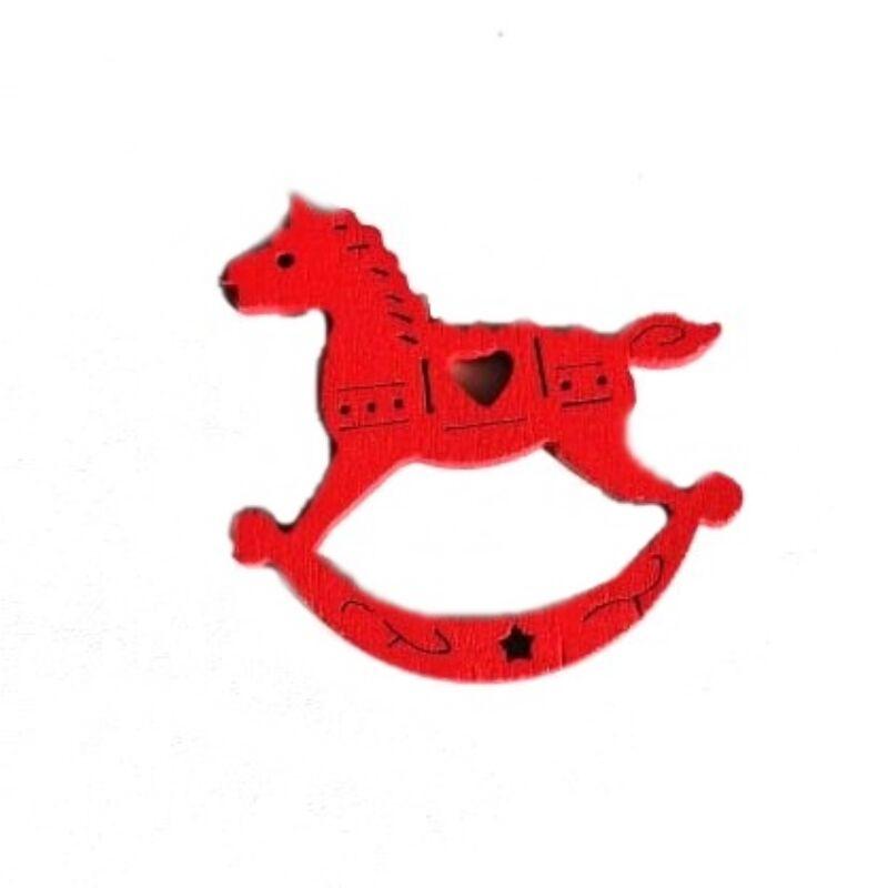Fafigura - Piros hintaló, áttört szív