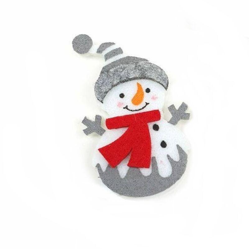 Filc mosolygós hóember figura, szürke sapis